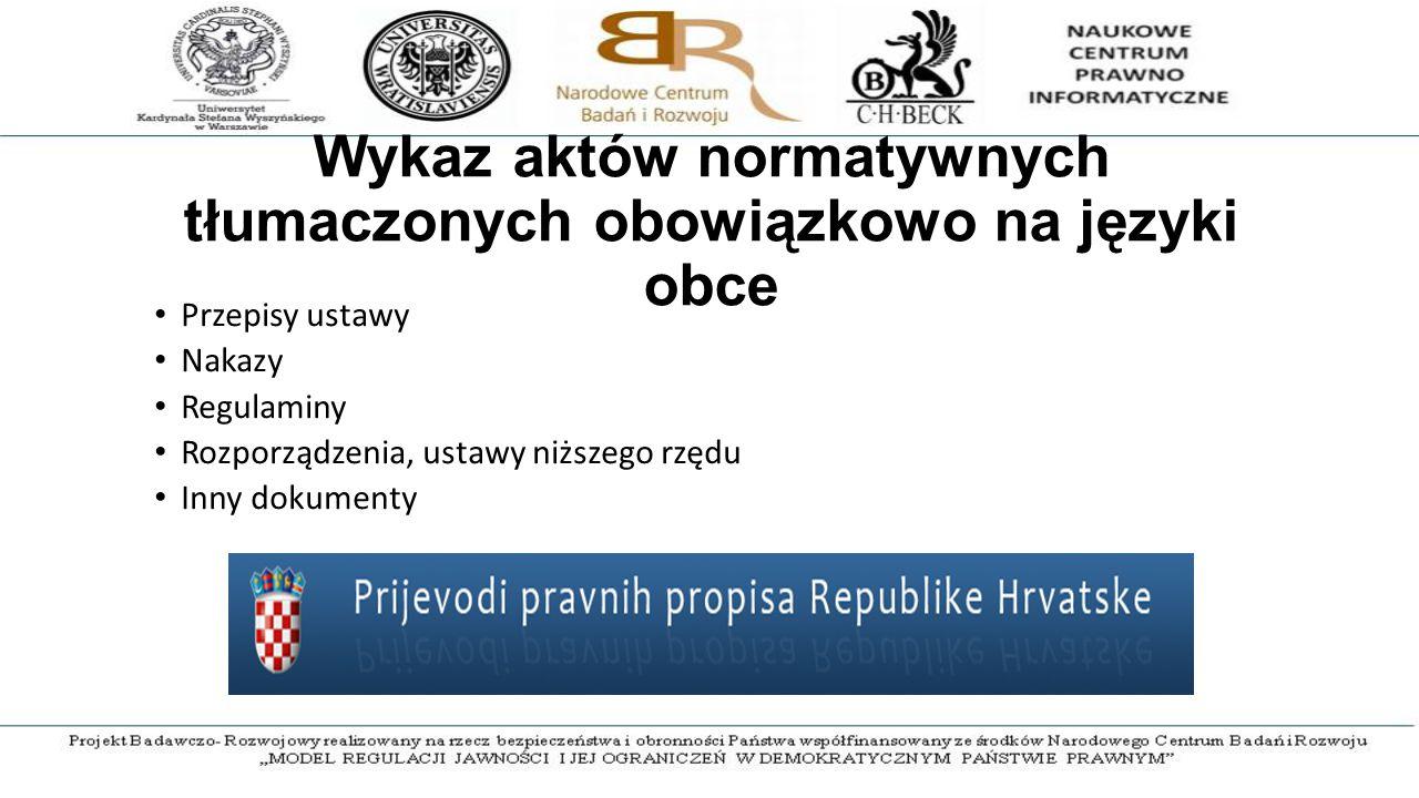Wykaz aktów normatywnych tłumaczonych obowiązkowo na języki obce Przepisy ustawy Nakazy Regulaminy Rozporządzenia, ustawy niższego rzędu Inny dokumenty