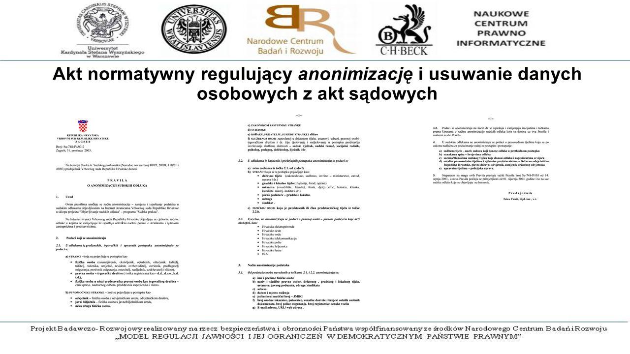 Akt normatywny regulujący anonimizację i usuwanie danych osobowych z akt sądowych