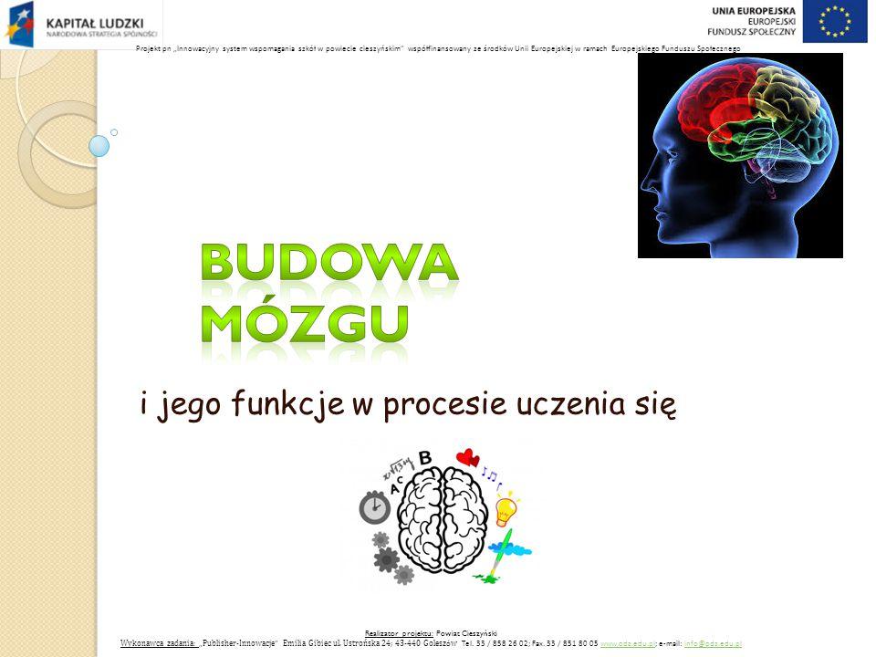 """i jego funkcje w procesie uczenia się Realizator projektu: Powiat Cieszyński Wykonawca zadania: """" Publisher-Innowacje Emilia Gibiec ul."""