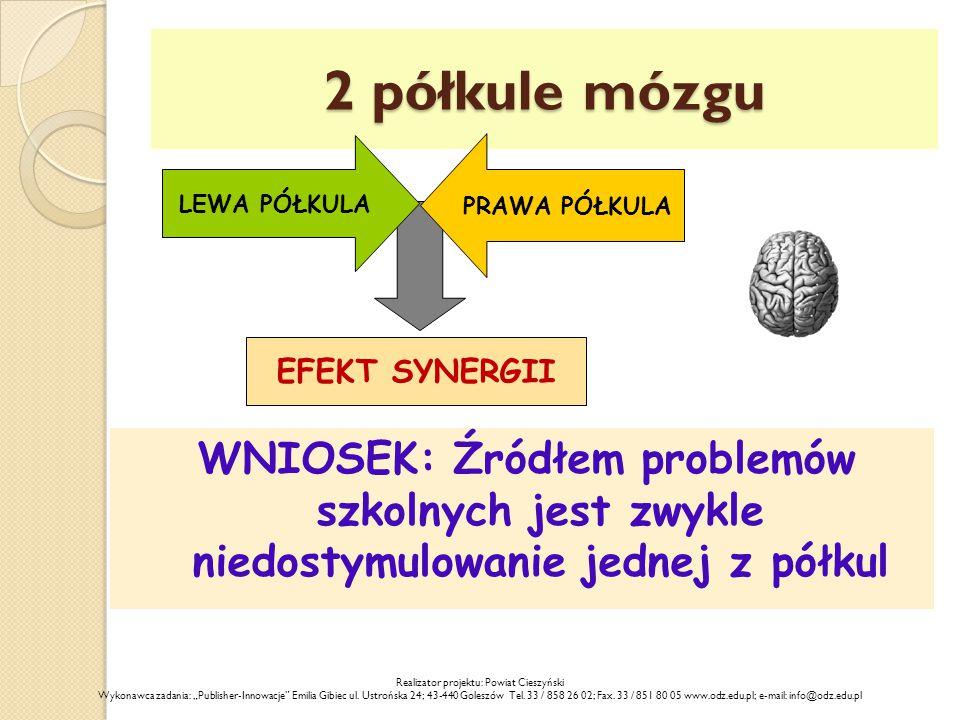 2 półkule mózgu WNIOSEK: Źródłem problemów szkolnych jest zwykle niedostymulowanie jednej z półkul LEWA PÓŁKULA PRAWA PÓŁKULA EFEKT SYNERGII Realizato
