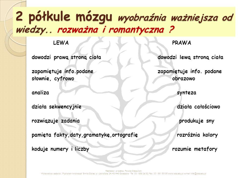 2 półkule mózgu wyobraźnia ważniejsza od wiedzy.. rozważna i romantyczna ? LEWAPRAWA dowodzi prawą stroną ciała dowodzi lewą stroną ciała zapamiętuje
