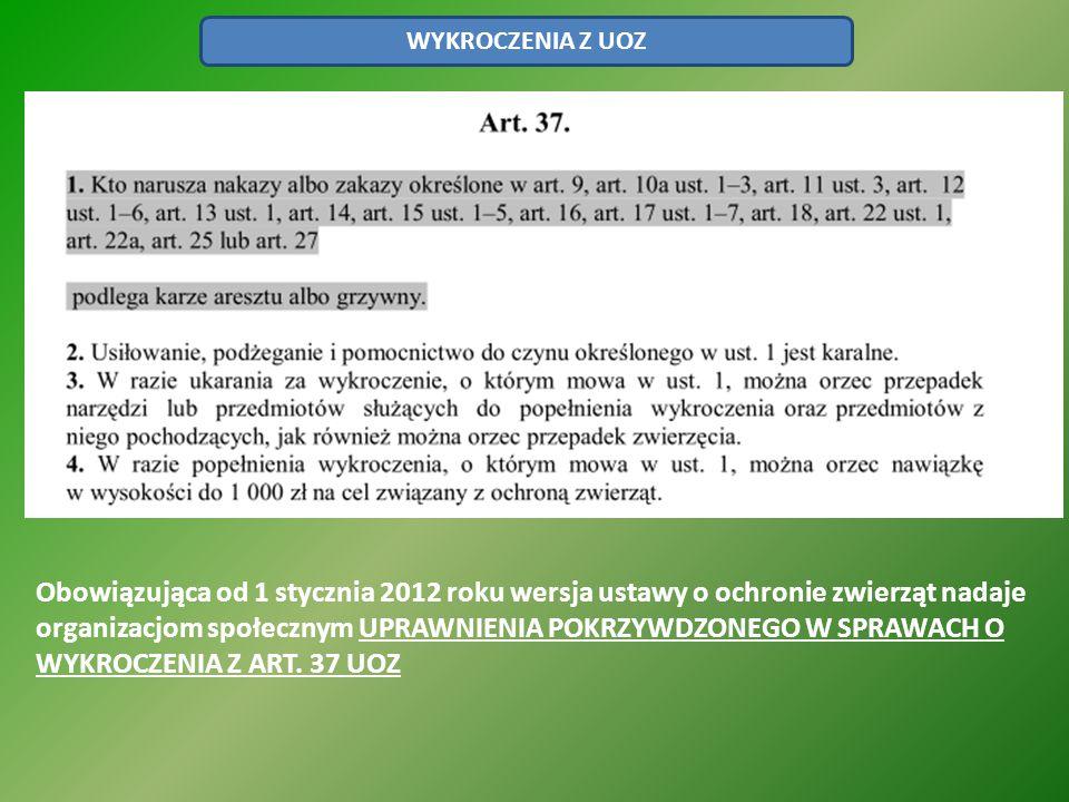 WYKROCZENIA Z UOZ Obowiązująca od 1 stycznia 2012 roku wersja ustawy o ochronie zwierząt nadaje organizacjom społecznym UPRAWNIENIA POKRZYWDZONEGO W S