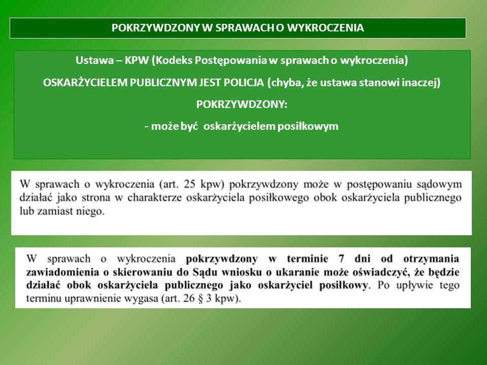 POKRZYWDZONY W SPRAWACH O WYKROCZENIA Ustawa – KPW (Kodeks Postępowania w sprawach o wykroczenia) OSKARŻYCIELEM PUBLICZNYM JEST POLICJA (chyba, że ust