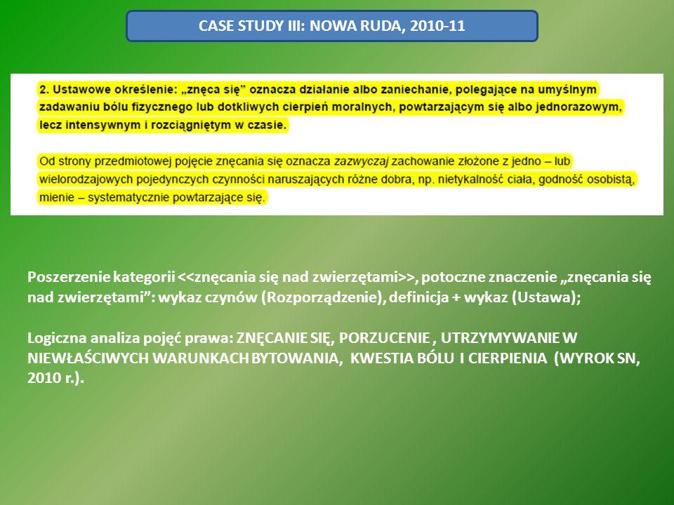 """CASE STUDY III: NOWA RUDA, 2010-11 Poszerzenie kategorii >, potoczne znaczenie """"znęcania się nad zwierzętami"""": wykaz czynów (Rozporządzenie), definicj"""