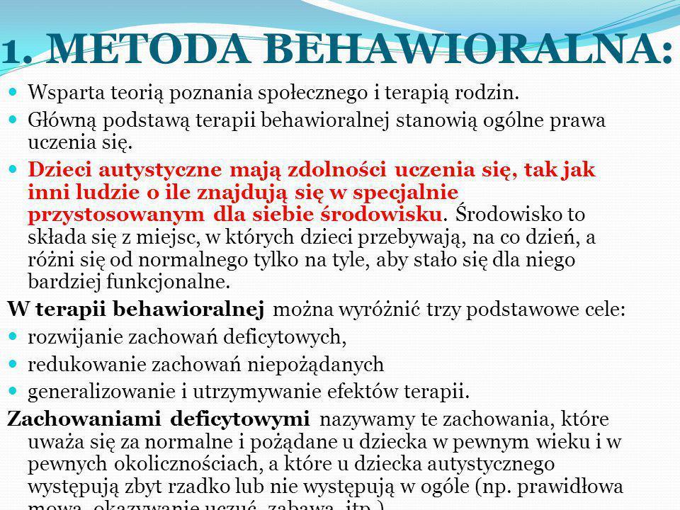 Zadaniem terapeuty behawioralnego jest kształtowanie u dziecka autystycznego jak największej liczby zachowań adaptacyjnych, które rozwiną jego niezależność i umożliwią mu efektywne funkcjonowanie w środowisku.