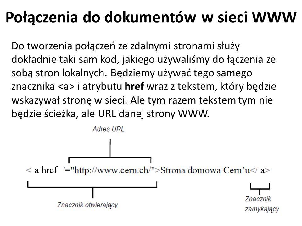 Połączenia do dokumentów w sieci WWW Do tworzenia połączeń ze zdalnymi stronami służy dokładnie taki sam kod, jakiego używaliśmy do łączenia ze sobą s
