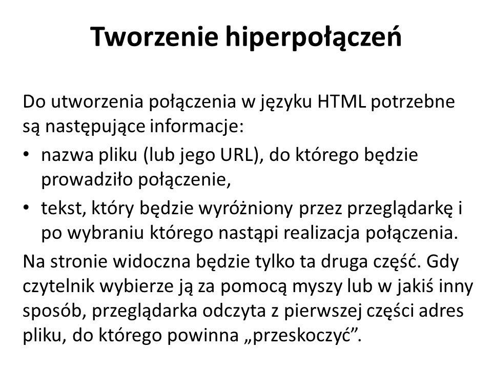 Tworzenie hiperpołączeń Do utworzenia połączenia w języku HTML potrzebne są następujące informacje: nazwa pliku (lub jego URL), do którego będzie prow