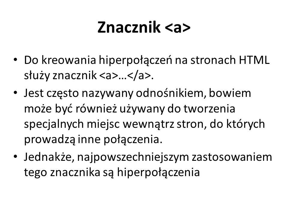 Znacznik Do kreowania hiperpołączeń na stronach HTML służy znacznik ….