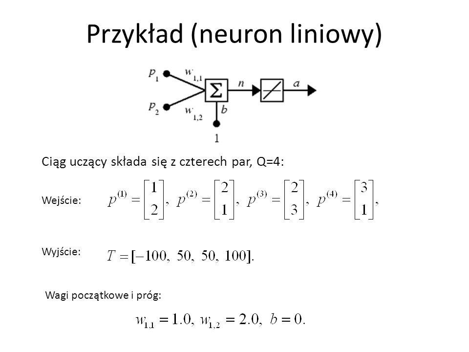 Przykład (neuron liniowy) Ciąg uczący składa się z czterech par, Q=4: Wagi początkowe i próg: Wejście: Wyjście: