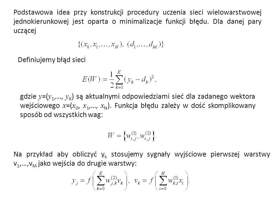 Podstawowa idea przy konstrukcji procedury uczenia sieci wielowarstwowej jednokierunkowej jest oparta o minimalizacje funkcji błędu.