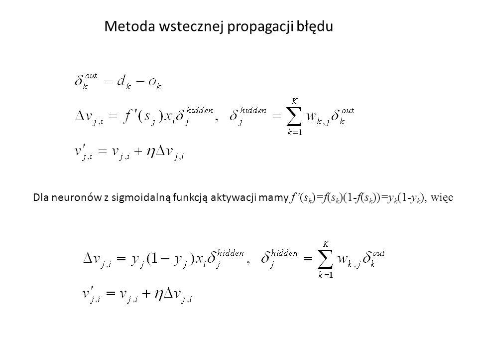 Metoda wstecznej propagacji błędu Dla neuronów z sigmoidalną funkcją aktywacji mamy f'(s k )=f(s k )(1-f(s k ))=y k (1-y k ), więc