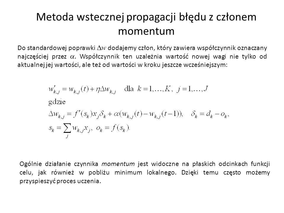 Metoda wstecznej propagacji błędu z członem momentum Do standardowej poprawki  w dodajemy człon, który zawiera współczynnik oznaczany najczęściej przez .