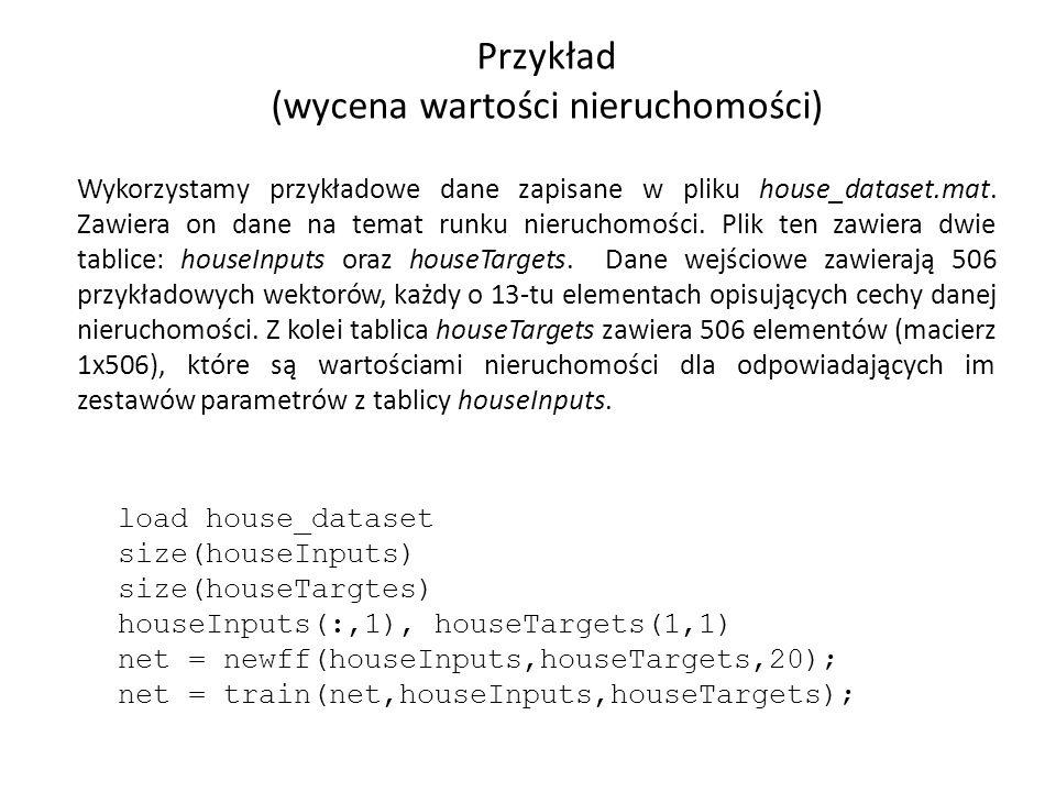Przykład (wycena wartości nieruchomości) Wykorzystamy przykładowe dane zapisane w pliku house_dataset.mat.