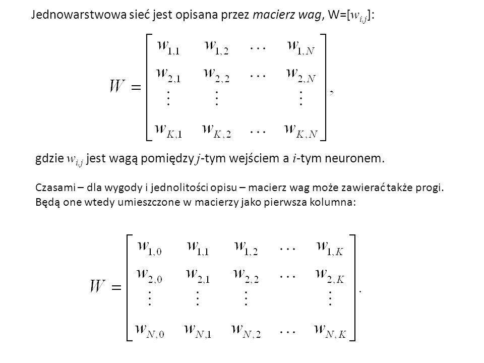 Jednowarstwowa sieć jest opisana przez macierz wag, W=[ w i,j ]: gdzie w i,j jest wagą pomiędzy j -tym wejściem a i -tym neuronem.
