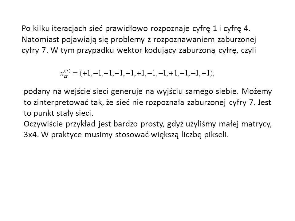 Po kilku iteracjach sieć prawidłowo rozpoznaje cyfrę 1 i cyfrę 4.