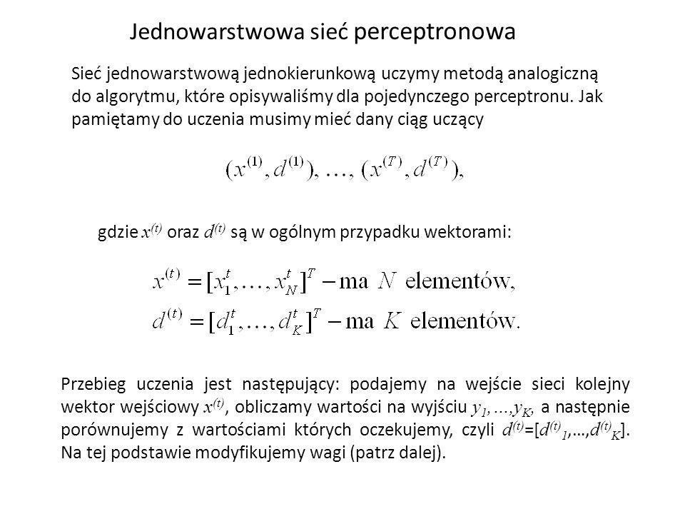 Sieć jednowarstwową jednokierunkową uczymy metodą analogiczną do algorytmu, które opisywaliśmy dla pojedynczego perceptronu.
