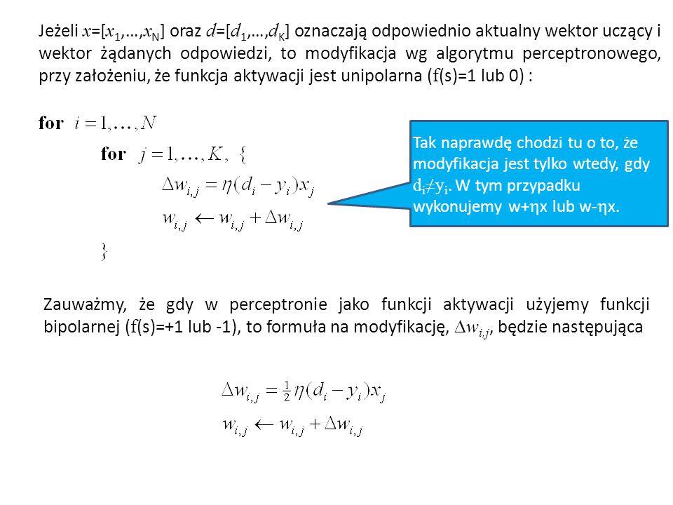 Jeżeli x =[ x 1,…, x N ] oraz d =[ d 1,…, d K ] oznaczają odpowiednio aktualny wektor uczący i wektor żądanych odpowiedzi, to modyfikacja wg algorytmu perceptronowego, przy założeniu, że funkcja aktywacji jest unipolarna ( f (s)=1 lub 0) : Tak naprawdę chodzi tu o to, że modyfikacja jest tylko wtedy, gdy d i ≠y i.