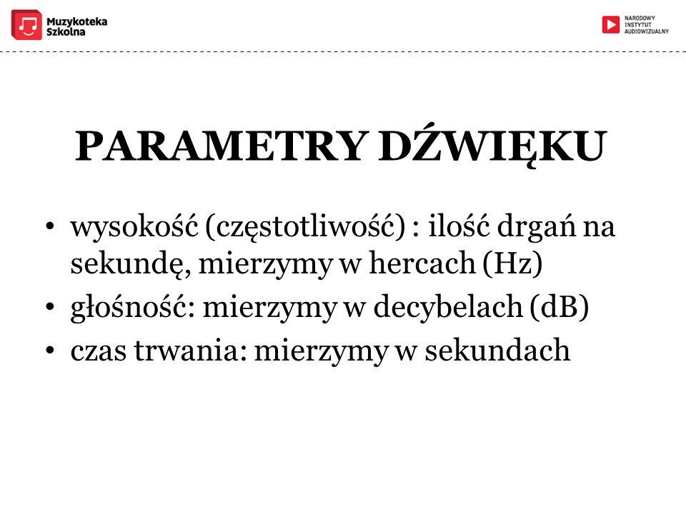 PARAMETRY DŹWIĘKU wysokość (częstotliwość) : ilość drgań na sekundę, mierzymy w hercach (Hz) głośność: mierzymy w decybelach (dB) czas trwania: mierzy