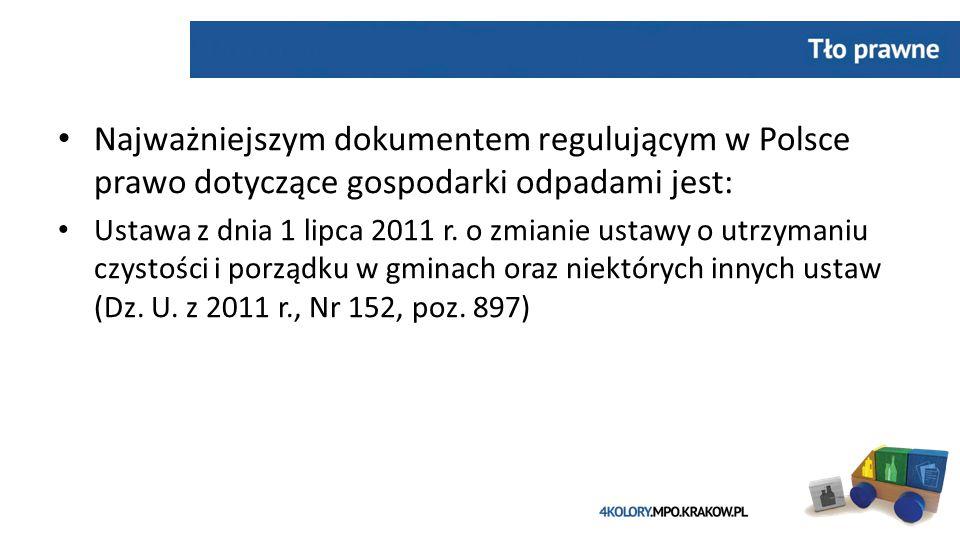Najważniejszym dokumentem regulującym w Polsce prawo dotyczące gospodarki odpadami jest: Ustawa z dnia 1 lipca 2011 r.