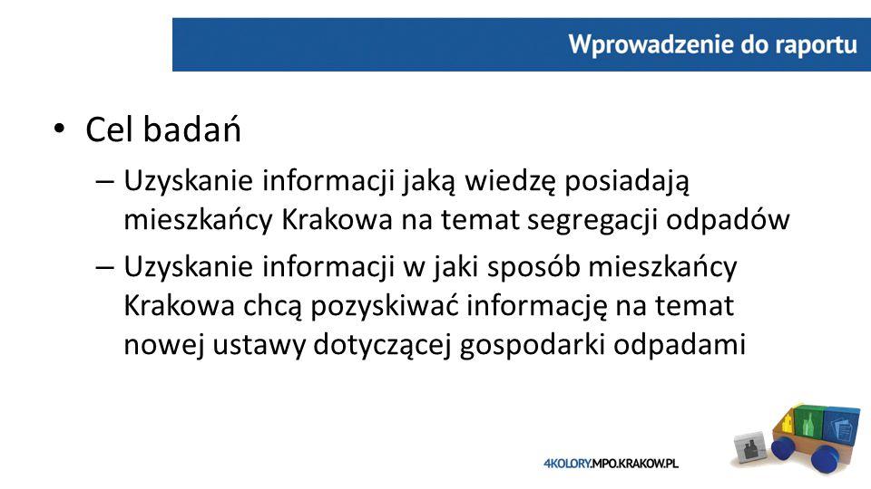 Cel badań – Uzyskanie informacji jaką wiedzę posiadają mieszkańcy Krakowa na temat segregacji odpadów – Uzyskanie informacji w jaki sposób mieszkańcy Krakowa chcą pozyskiwać informację na temat nowej ustawy dotyczącej gospodarki odpadami