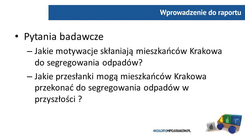 Pytania badawcze – Jakie motywacje skłaniają mieszkańców Krakowa do segregowania odpadów.