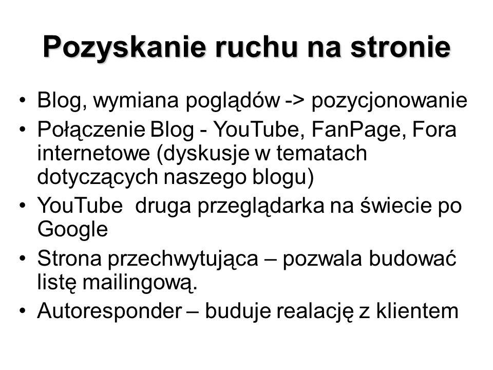 Pozyskanie ruchu na stronie Blog, wymiana poglądów -> pozycjonowanie Połączenie Blog - YouTube, FanPage, Fora internetowe (dyskusje w tematach dotyczących naszego blogu) YouTube druga przeglądarka na świecie po Google Strona przechwytująca – pozwala budować listę mailingową.