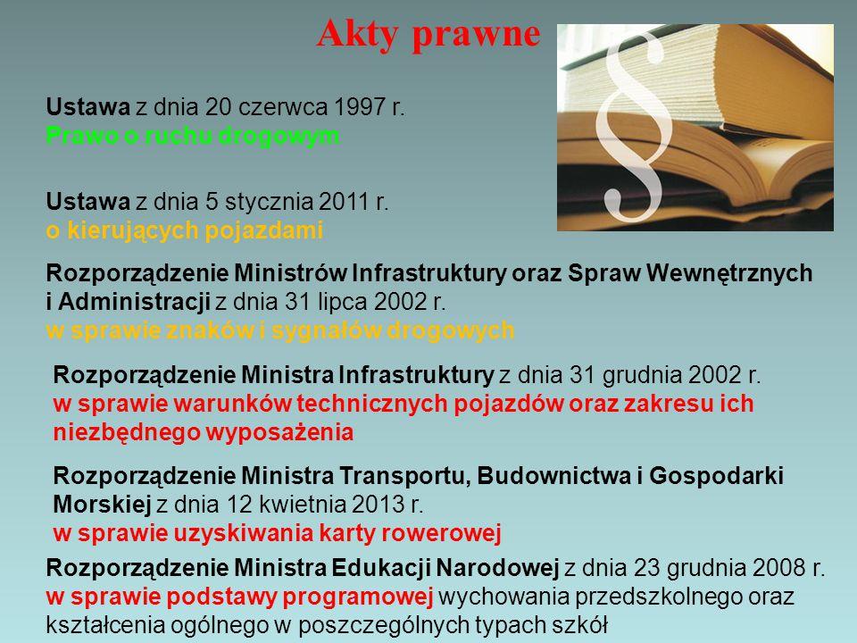Akty prawne Ustawa z dnia 20 czerwca 1997 r. Prawo o ruchu drogowym Ustawa z dnia 5 stycznia 2011 r. o kierujących pojazdami Rozporządzenie Ministra T