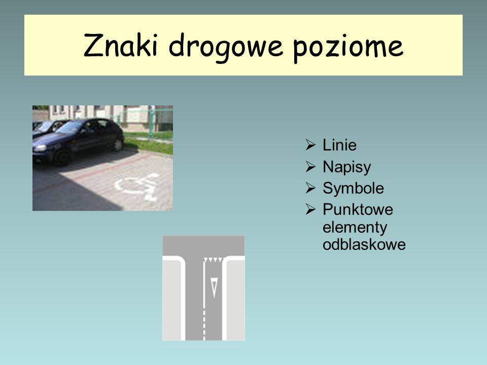 Znaki drogowe poziome  Linie  Napisy  Symbole  Punktowe elementy odblaskowe