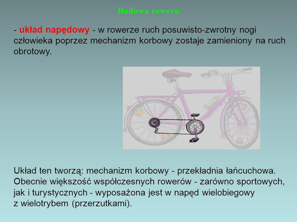 Budowa roweru - układ napędowy - w rowerze ruch posuwisto-zwrotny nogi człowieka poprzez mechanizm korbowy zostaje zamieniony na ruch obrotowy. Układ