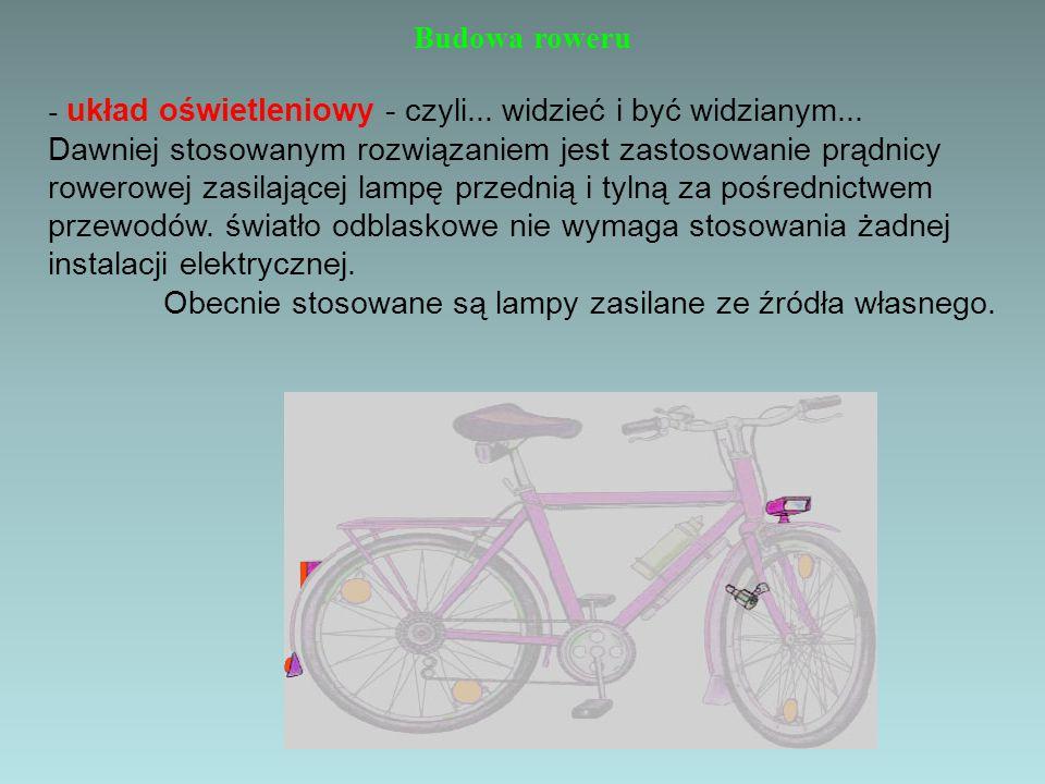 Budowa roweru - układ oświetleniowy - czyli... widzieć i być widzianym... Dawniej stosowanym rozwiązaniem jest zastosowanie prądnicy rowerowej zasilaj