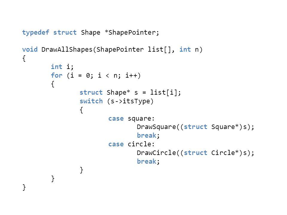 typedef struct Shape *ShapePointer; void DrawAllShapes(ShapePointer list[], int n) { int i; for (i = 0; i < n; i++) { struct Shape* s = list[i]; switc