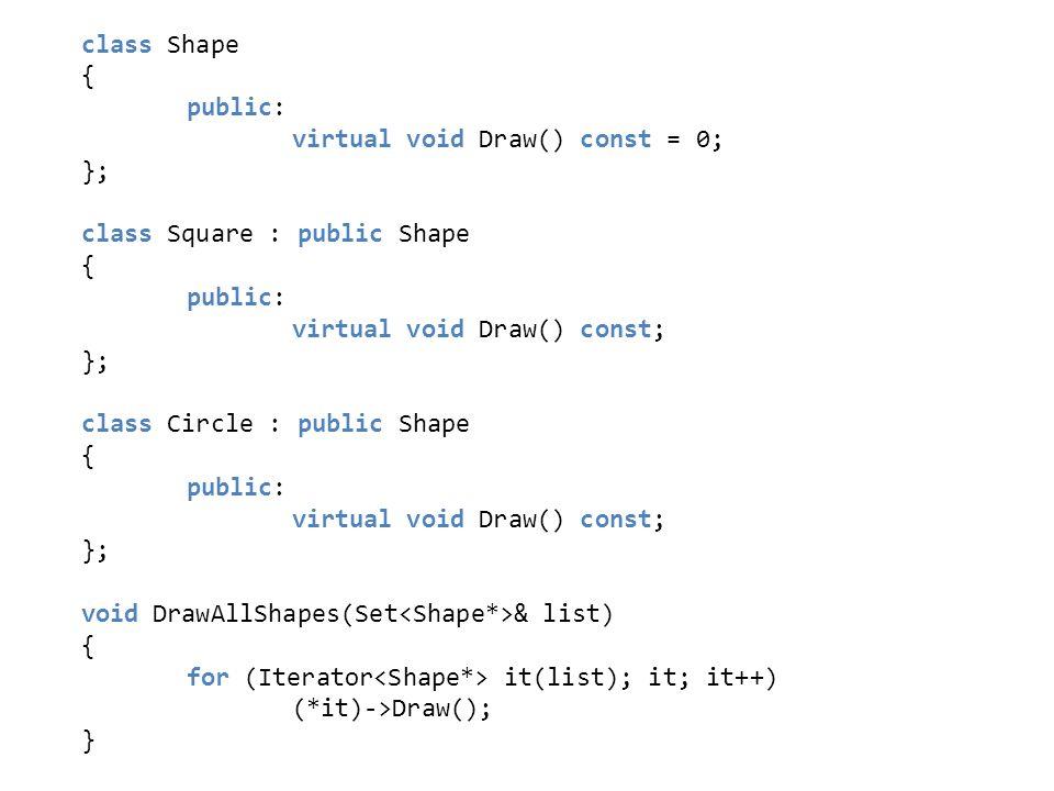 class Shape { public: virtual void Draw() const = 0; }; class Square : public Shape { public: virtual void Draw() const; }; class Circle : public Shap