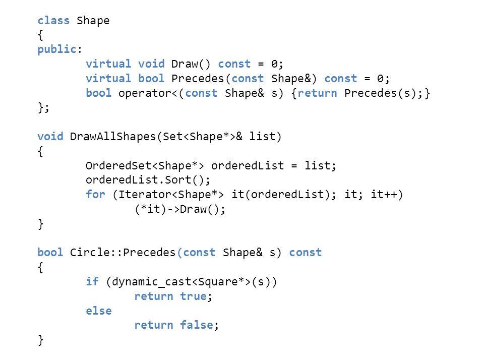 class Shape { public: virtual void Draw() const = 0; virtual bool Precedes(const Shape&) const = 0; bool operator<(const Shape& s) {return Precedes(s)