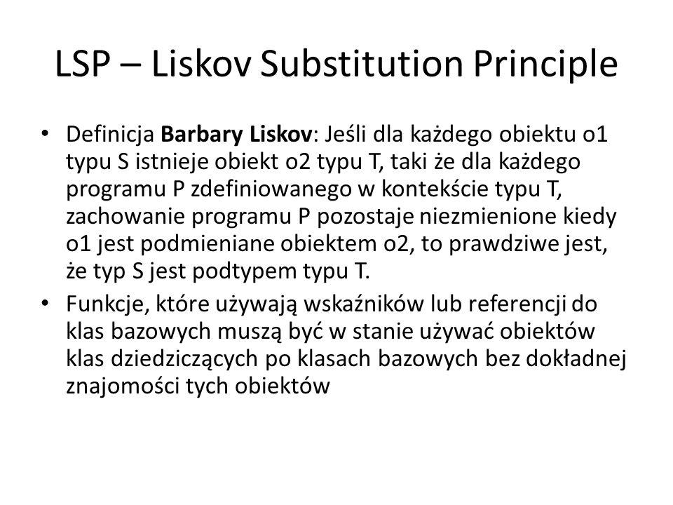 LSP – Liskov Substitution Principle Definicja Barbary Liskov: Jeśli dla każdego obiektu o1 typu S istnieje obiekt o2 typu T, taki że dla każdego progr