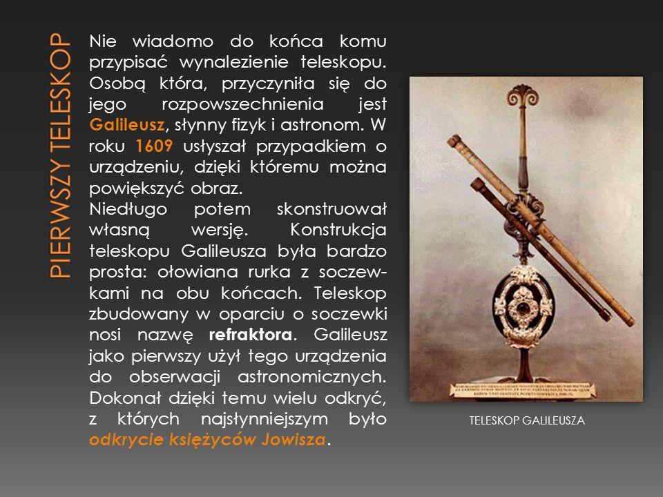 Nie wiadomo do końca komu przypisać wynalezienie teleskopu. Osobą która, przyczyniła się do jego rozpowszechnienia jest Galileusz, słynny fizyk i astr