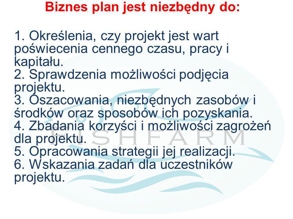 Biznes plan jest niezbędny do: 1. Określenia, czy projekt jest wart poświecenia cennego czasu, pracy i kapitału. 2. Sprawdzenia możliwości podjęcia pr