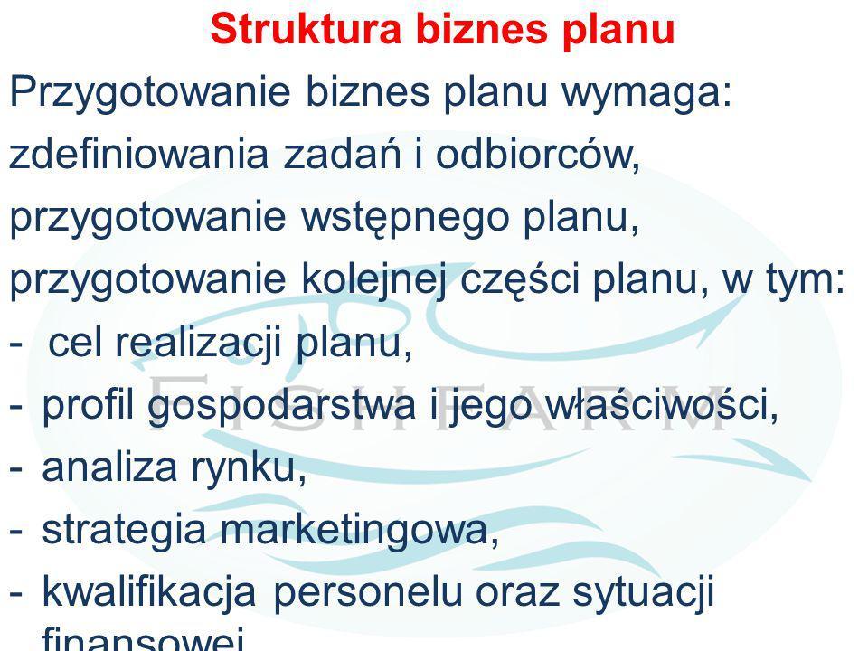 Struktura biznes planu Przygotowanie biznes planu wymaga: zdefiniowania zadań i odbiorców, przygotowanie wstępnego planu, przygotowanie kolejnej części planu, w tym: - cel realizacji planu, -profil gospodarstwa i jego właściwości, -analiza rynku, -strategia marketingowa, -kwalifikacja personelu oraz sytuacji finansowej