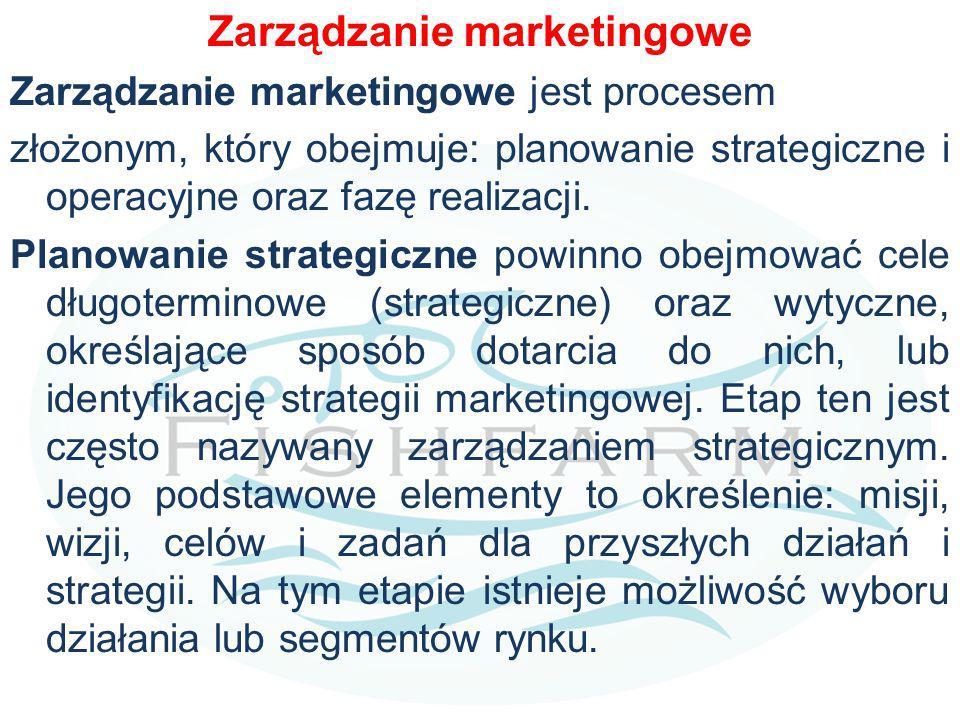 Zarządzanie marketingowe Zarządzanie marketingowe jest procesem złożonym, który obejmuje: planowanie strategiczne i operacyjne oraz fazę realizacji.
