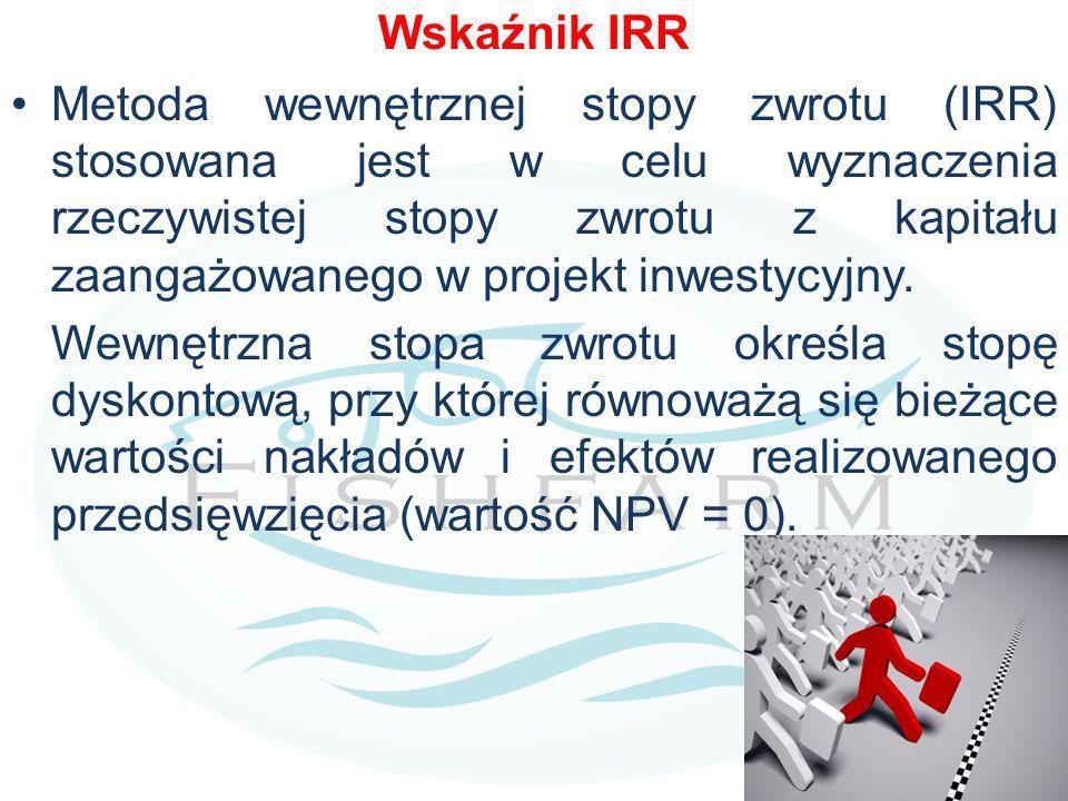 Wskaźnik IRR Metoda wewnętrznej stopy zwrotu (IRR) stosowana jest w celu wyznaczenia rzeczywistej stopy zwrotu z kapitału zaangażowanego w projekt inwestycyjny.
