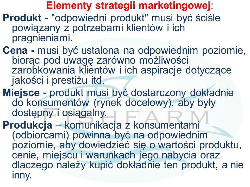 Elementy strategii marketingowej: Produkt - odpowiedni produkt musi być ściśle powiązany z potrzebami klientów i ich pragnieniami.