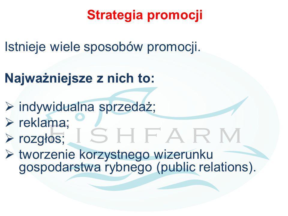 Strategia promocji Istnieje wiele sposobów promocji. Najważniejsze z nich to:  indywidualna sprzedaż;  reklama;  rozgłos;  tworzenie korzystnego w