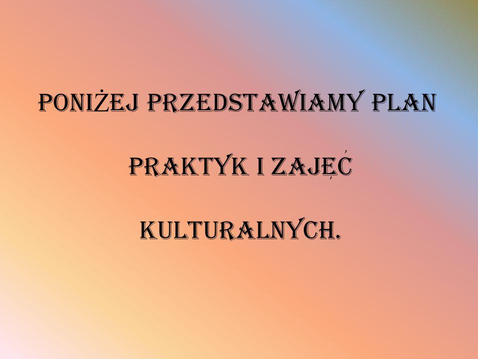 Poni Ż ej przedstawiamy plan praktyk i zajec kulturalnych.,,