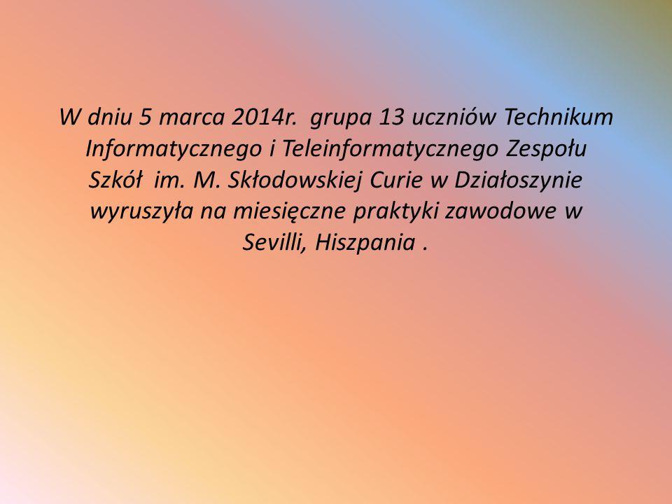 W dniu 5 marca 2014r. grupa 13 uczniów Technikum Informatycznego i Teleinformatycznego Zespołu Szkół im. M. Skłodowskiej Curie w Działoszynie wyruszył