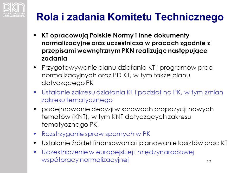 Rola i zadania Komitetu Technicznego KT opracowują Polskie Normy i inne dokumenty normalizacyjne oraz uczestniczą w pracach zgodnie z przepisami wewnę