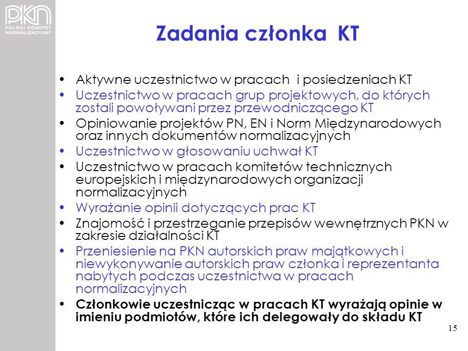 Zadania członka KT Aktywne uczestnictwo w pracach i posiedzeniach KT Uczestnictwo w pracach grup projektowych, do których zostali powoływani przez prz