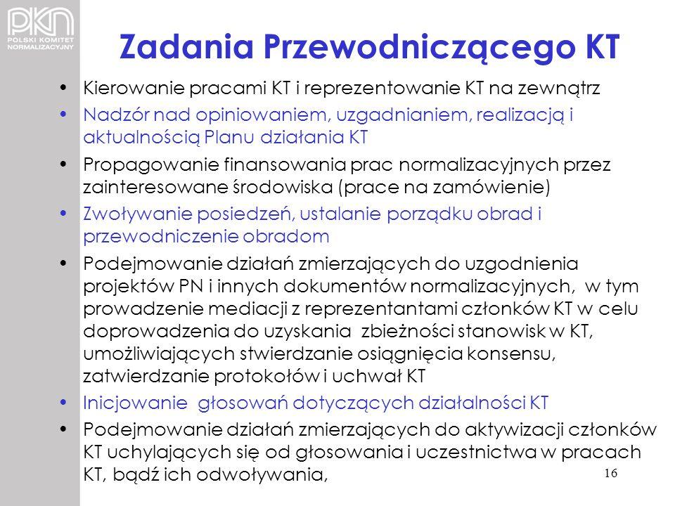 Zadania Przewodniczącego KT Kierowanie pracami KT i reprezentowanie KT na zewnątrz Nadzór nad opiniowaniem, uzgadnianiem, realizacją i aktualnością Pl