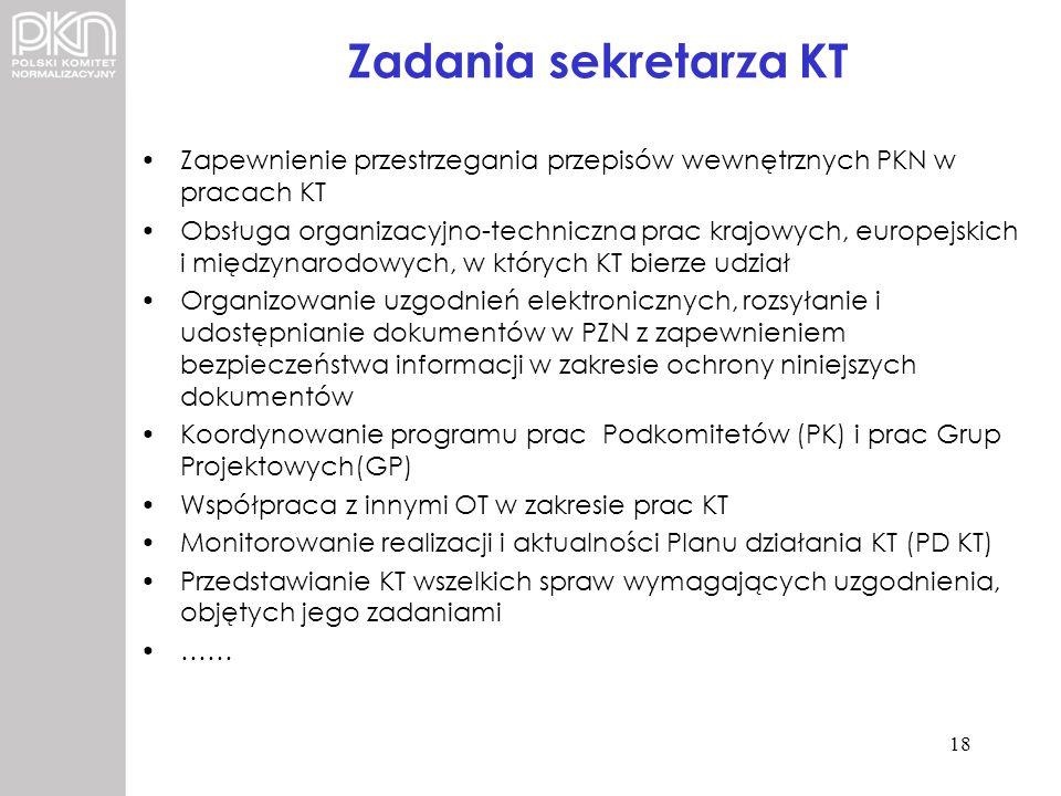 Zadania sekretarza KT Zapewnienie przestrzegania przepisów wewnętrznych PKN w pracach KT Obsługa organizacyjno-techniczna prac krajowych, europejskich