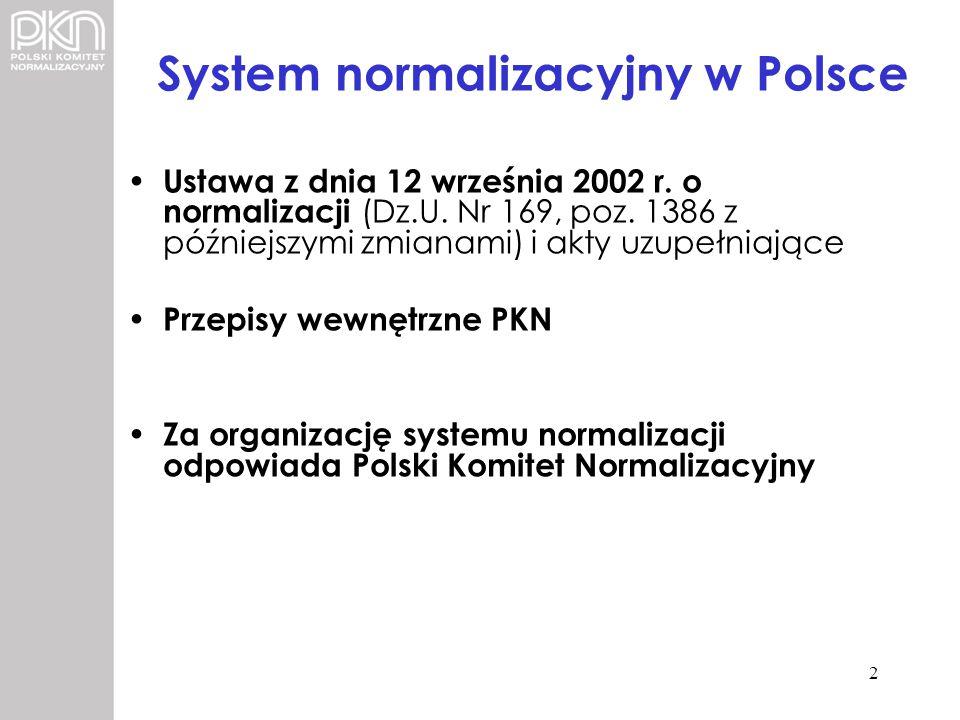 System normalizacyjny w Polsce Ustawa z dnia 12 września 2002 r. o normalizacji (Dz.U. Nr 169, poz. 1386 z późniejszymi zmianami) i akty uzupełniające