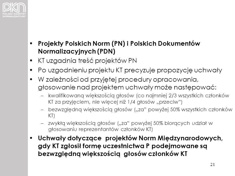 Projekty Polskich Norm (PN) i Polskich Dokumentów Normalizacyjnych (PDN) KT uzgadnia treść projektów PN Po uzgodnieniu projektu KT precyzuje propozycj