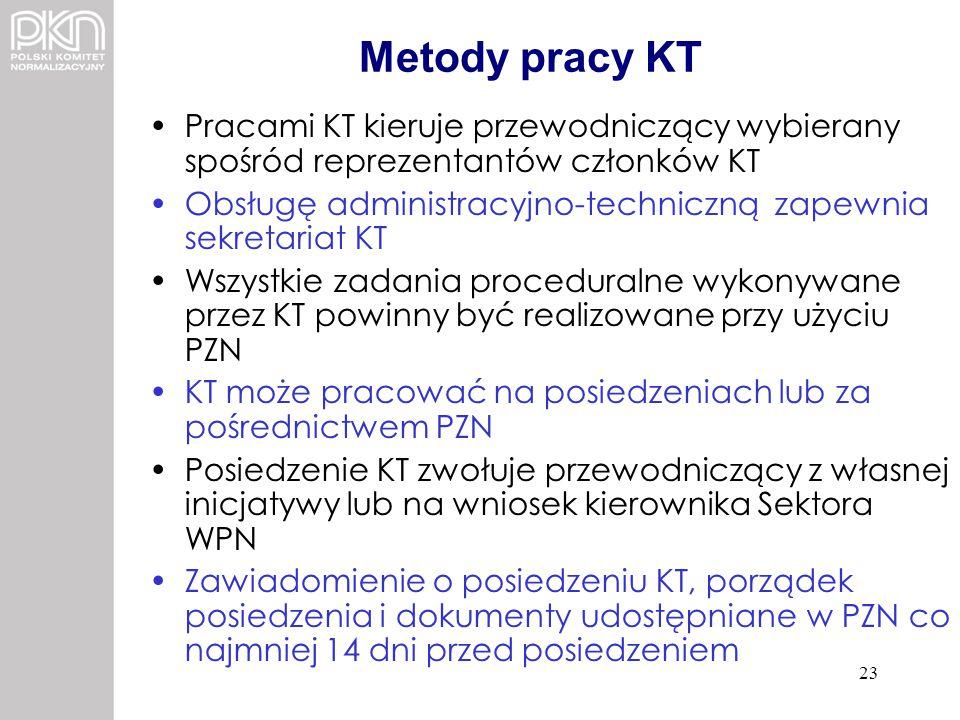 Metody pracy KT Pracami KT kieruje przewodniczący wybierany spośród reprezentantów członków KT Obsługę administracyjno-techniczną zapewnia sekretariat
